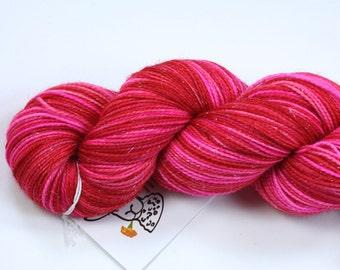 Burning Love--hand dyed sock weight yarn, merino, nylon and stellina, (438yds/100gr)