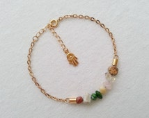 Gold Gemstone AnkleBracelet.Knotted.Adjustable.Everyday Anklet.Gift for her.Birthday gift.Protection Jewelry.Hamsa.Gift for Her.Girls Gift