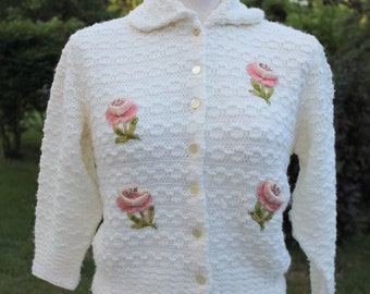 1950s Floral Cardigan