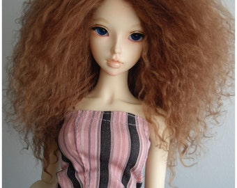 "Light Brown color tibetan mohair wig for bjd 8/9"" sd size"