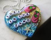 Beach Necklace, Women's Necklace, Beach Party, Toes in the Sand, Resin Beach Shell Holiday Necklace, Glitter Heart, Cute Beach Wear for Her