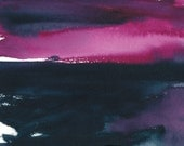 Original Watercolour Painting, Pink Sky Over The Water, Abstract Waterscape, Indigo Blue, Pink