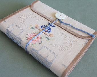 Vintage Linen Softcover Embroidered Journal Tea Dyed Tea Time 05 by PrairiePeasant