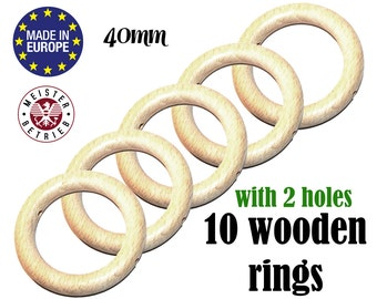 10 Natural Organic Wooden Rings WITH HOLES 40mm. suspender clip ring. unfinished wooden teething ring. baby DIY teething toy #120018