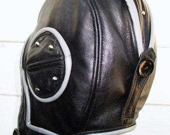 "Retro ""Swoop""  Aviator Hat in Black/ Gray Leather w Studs"
