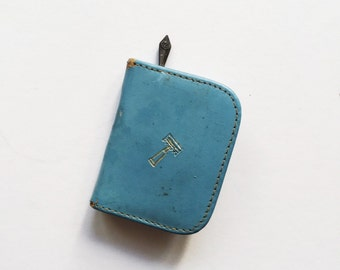 Tiny Vintage Travel Shaving Kit with Razor and Blades and Baby Blue Leather Zipper Case