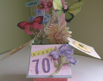 70th Birthday pop up card in a box - milestone birthday
