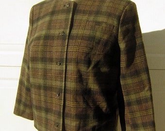 Pendleton Plaid Wool Suit Jacket Rich Earthy Tones Vinage 60s Satin Lined Top Quality S to M