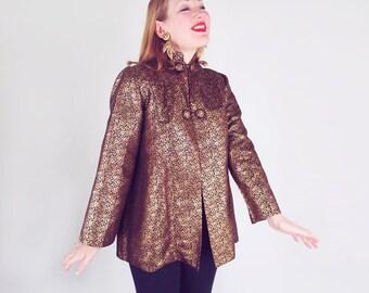 50s Gold & Black Brocade Asian Swing Jacket - Japan - Easy Fit