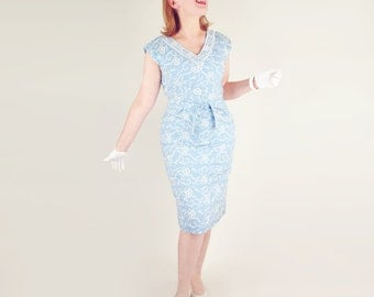 50s Light Blue Sheath Dress with White Embroidery M