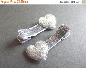 20% OFF Silver Heart Hair Clips Silver Hair Clips Silver Glitter Hair Clips Baby Girl Hair Clips Baby Hair Clips Valentines Day Toddler Girl