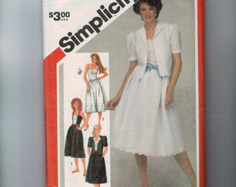 1980s Vintage Sewing Pattern Simplicity 5892 Misses Sundress with Jacket Eyelet Lace Size 14 Bust 36 1983 80s