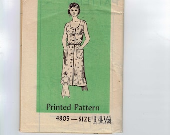1980s Vintage Sewing Pattern Mail Order 4805 Button Front Sundress with Pockets Plus Half Size 14 1/2 Bust 37 UNCUT  99