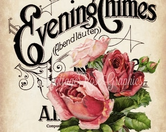 Evening Chimes vintage music cover pink roses Large digital download single image BUY 3 get one FREE ecs Prinatable