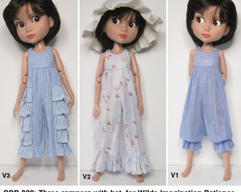 STRAIGHTFORWARD SEWING Pattern- SSP-039: Three rompers and a hat, for Tonner Patience, Marley Wentworth & Agnes Dreary.