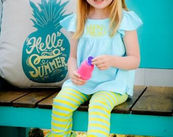 Icings - Icing Legging - Icing Pants - Ruffle Pants- Ruffle - Matilda Jane Inspired - Sew Sassy - Aqua and Yellow Leggings - Girls Leggings