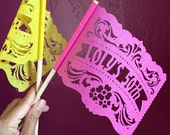 Fiesta Party Centerpiece Flags . BUENOS AIRES personalized papel picado banderas . Any Occasion