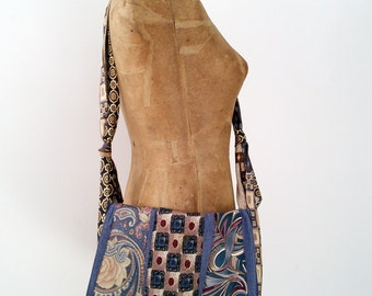 Neck-Tie Messenger Bag, Crossbody Purse - repurposed, upcycled, Maine made