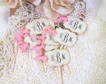 Monogram Cupcake Toppers Parchment Party Picks - Initials - Set of 18 - Choose Ribbons - Vintage Rustic Shabby Style