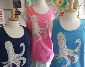 octopus tank t-shirt applique comfort colors