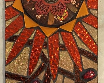 Stained Glass and Resin Mosaic Wall Hanging Red Orange and Gold