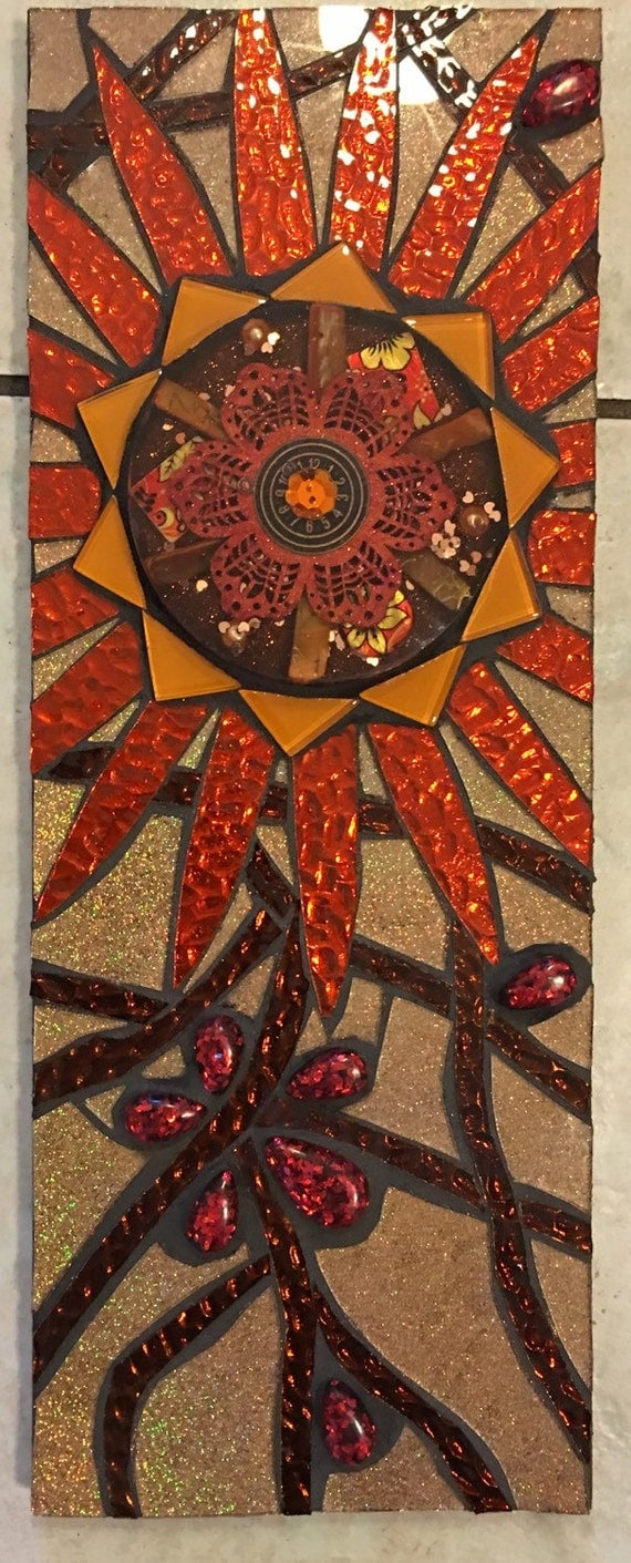 Red Mosaic Wall Decor : Stained glass and resin mosaic wall hanging red orange