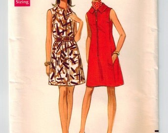 Vintage 60s Misses Dress Sewing Pattern Bust 34 Loose Fit A-line Dress Front Zipper Shaped Collar Square Armholes Side Pockets Sleeveless