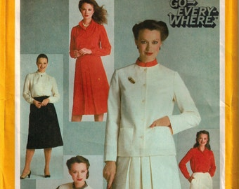 Vintage Misses Blouse Pants Pleated Skirt Unlined Boxy Jacket or Vest 1980s Simplicity 9717 Size 16 Bust 38 Front Tucks Patch Pockets UNCUT