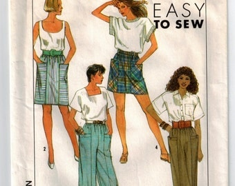 Misses Skirt Shorts Cropped Pants Vintage 1980s Sewing Pattern Wide Leg Capris Elastic Waist Pull On Skirt Simplicity 9202 Size Small 10-12