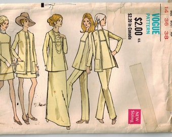 Vintage 70s Tunic Jacket Skirt and Pants Vogue Sewing Pattern Bust 36 Sz 14 Wardrobe Pattern Separates Maxi Mini A-line Skirt Patch Pockets