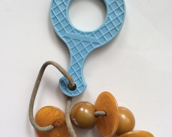 Plakie Teether 1940's Plakie Teether with Bakelite Bead Vintage Plakie Teether