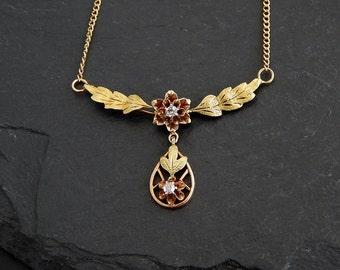 Victorian Diamond Necklace: 14k green, pink, and yellow gold; hand cut diamonds, buttercup setting, floral festoon, nature pendant, 1800s