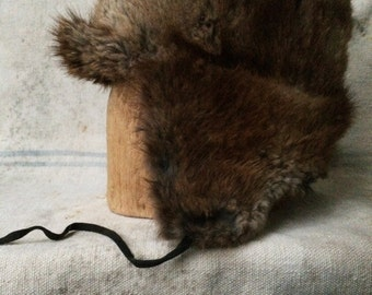 antique c. early 1900s handmade fur trapper hat, xs - s
