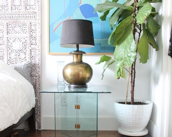 Modern Minimal 24K Gold Plated Hardware & Glass Side Table (Pair Available)