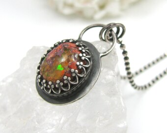 Fire Opal Necklace - Sterling Silver Fire Opal Necklace - silver Mexican Boulder Opal Necklace with antique patina with flower pattern