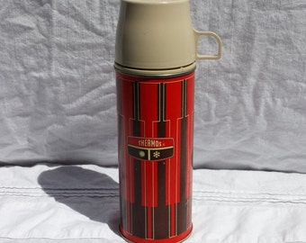 Red and Brown Pint Size King-Seely Thermos with Cup and Stopper, 1971