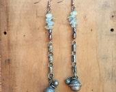 Kuchi Earrings // Tribal Jewelry // Boho Bohemian Jewellery // Long Earrings // Semi Precious Stones // Mismatched Earrings