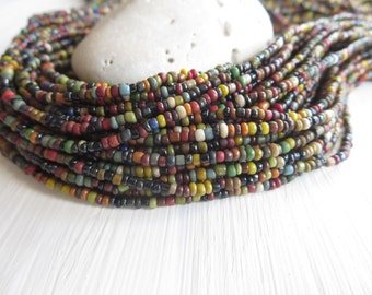 MINI mix seed beads , opaque  glass beads , rondelle tube barrel mini spacer Indonesian 1 to 2mm / 44 inches strd - 6a12-5