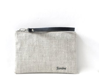 Personalized, Monogrammed Linen Clutch Bag, Wristlet, Personalized Gifts