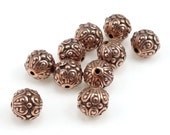 Antique Copper Beads TierraCast CASBAH BEADS Copper Bali Beads 7mm Round Fancy Ornate Beads for Jewelry Making Craft Supplies (P23)