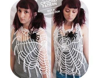 crochet pattern - halloween spider web - wearable spider web - halloween costume - shawl with fringe - crochet spider web - spoopy halloween