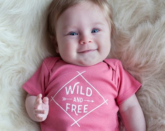 Organic Wild and Free Onesie, Organic Coral Baby Bodysuit, Organic Romper, Screen printed onesie, 3-6m, 6-12 mo, 12-18mo by Sweetpea and Co.