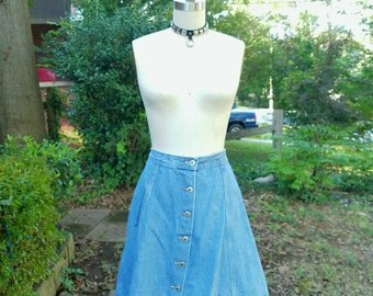 1990s Vintage Denim Button Skirt Light Wash Denim Skirt Button Up Skirt High Waist Grunge A Line Jean Mini Skirt Size Large