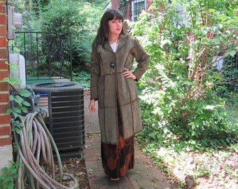 1980s Vintage Army Green Leather Trench Coat Crochet Patchwork Suede Trench Coat with Collar Patchwork Coat Size Large