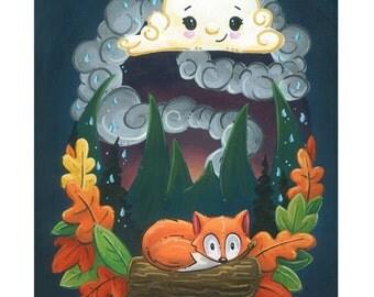 White Cloud and Little Fox - 8x10 Art Print by Geri Shields