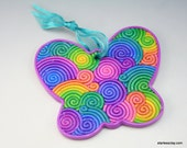 Rainbow Butterfly Ornament in Fimo Filigree