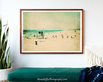 framed beach print, beach photo, lifeguard tower photograph, framed photograph, Hermosa Beach art, blue, green, nursery wall art, summer