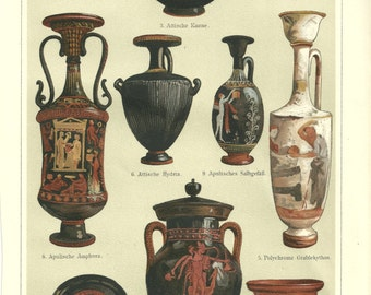 1860s Greek Vases Litho Print, Antique Historic Wall Hanging Chromolithograph Print Vibrant Color