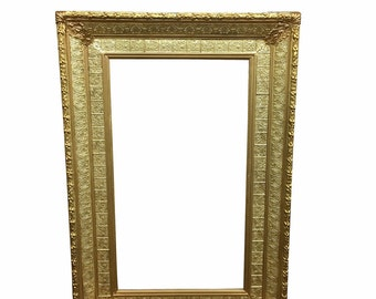 1880s Large Wall Frame, Wood with Real Gold Gilt Detailing, Antique Home Luxury