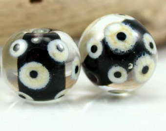 Made to Order - One Pair of Black and Ivory Beads, Lampwork Beads, Handmade Glass Beads, SRA Beads